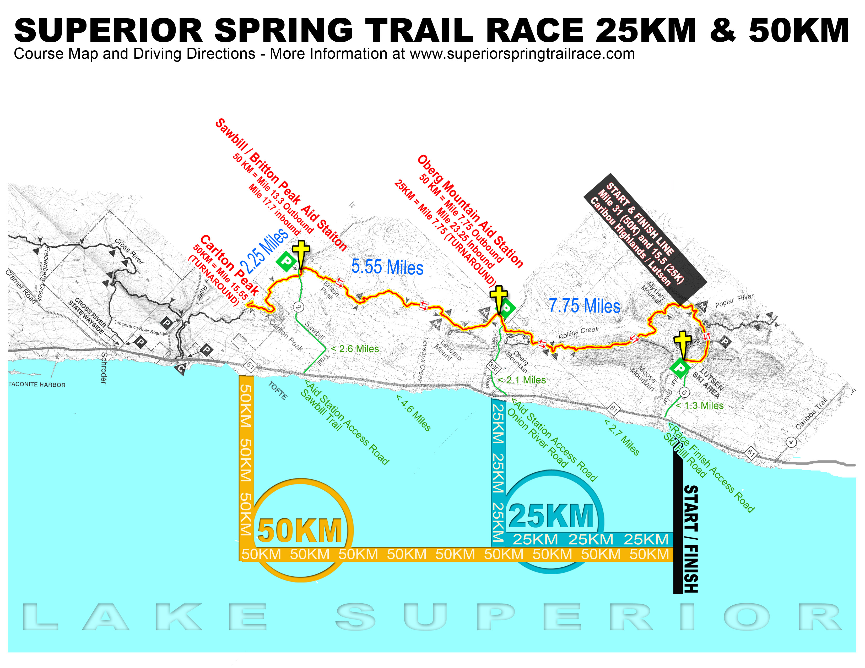 Maps & Data | Superior Spring Trail Race Running Mileage Map on