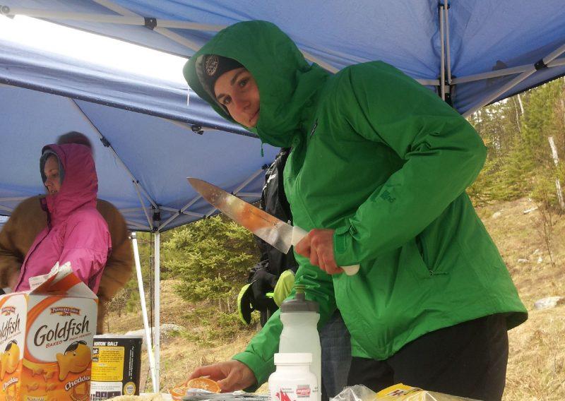 Watch Out Christi Nowak Works The Sawbill Aid Station - Photo John Storkamp